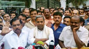 JD(S)-Congress Leaders address a press meet