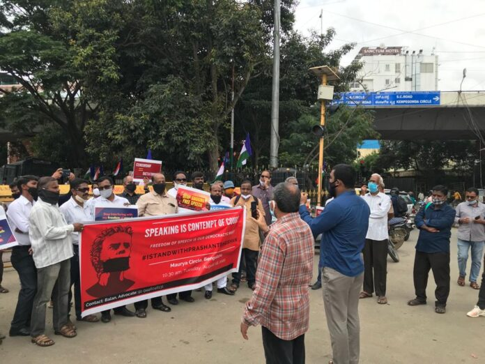 bangalore protests for Prashant bhushan
